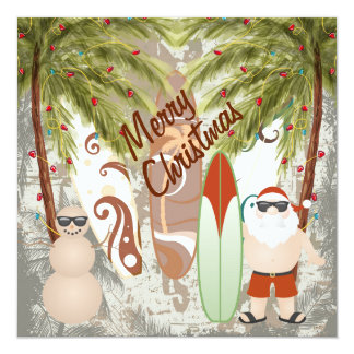 Kerstman en Groet van Kerstmis van het Strand van Kaart
