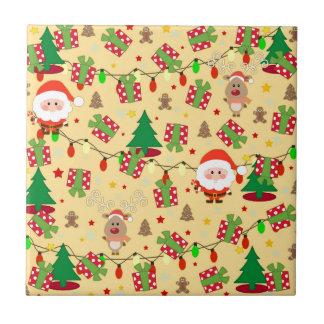 Kerstman en het patroon van Rudolph Keramisch Tegeltje