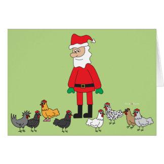 Kerstman en Kippen Kaart