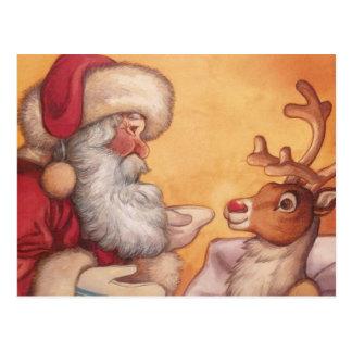Kerstman en Rudolph vóór Kerstmis Briefkaart