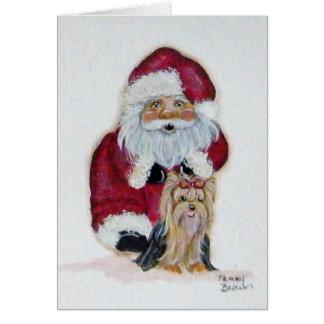 Kerstman en zijn Kerstkaart Yorkie Wenskaart