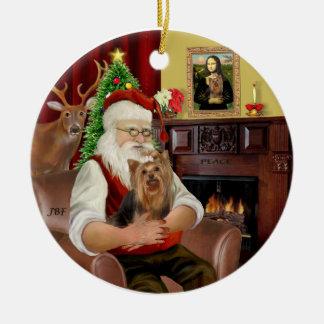 Kerstman en zijn Yorkie 7 Rond Keramisch Ornament