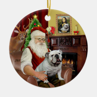 Kerstman-Engelse Buldog Rond Keramisch Ornament