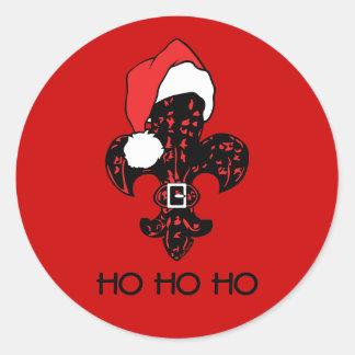 Kerstman Fleur DE (rood) lis Ronde Sticker