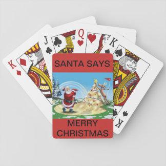 Kerstman Golfing op een dek van speelkaarten