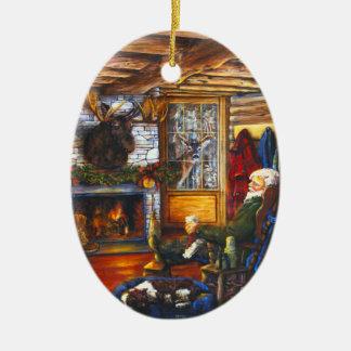 Kerstman in Cabine | de Rustieke Boom van de Keramisch Ovaal Ornament