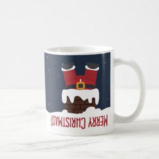 Kerstman in de Schoorsteen wordt geplakt die Koffiemok