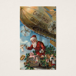 """""""Kerstman in een Blimp"""" het Label van de Gift Visitekaartjes"""