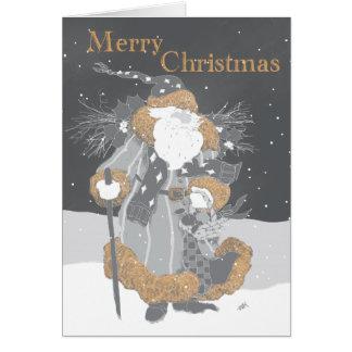 Kerstman in Grijs Krijt Wenskaart