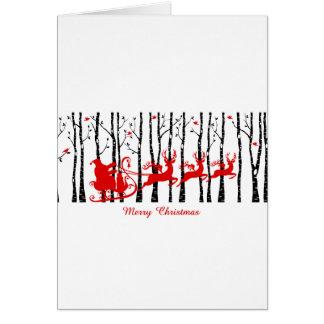 Kerstman in het bos van de berkboom briefkaarten 0
