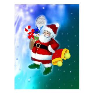 Kerstman met tennisracket en klokken briefkaart