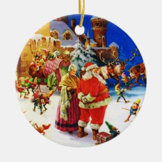 Kerstman & Mevr. Claus bij de Kerstavond van Rond Keramisch Ornament