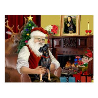 Kerstman - Miniatuur (nationaal) Pinscher Briefkaart