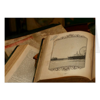 Kerstman Monica Pier Drawing in oud Boek Kaart