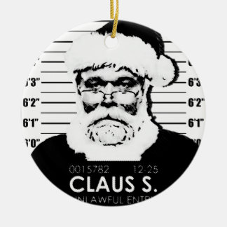 Kerstman Mugshot Rond Keramisch Ornament