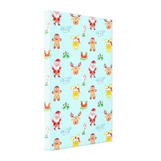 Kerstman, rendier, konijntjes en koekjes het canvas afdrukken