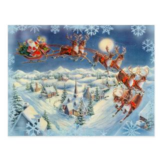 Kerstman, Slee & Rendier door Sharon Sharpe Briefkaart