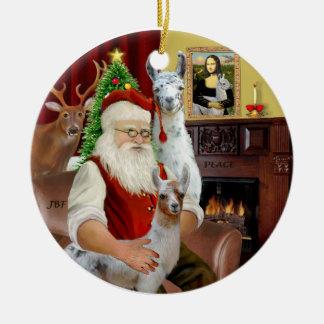 Kerstman - Twee Lama's (Mamma+baby) Rond Keramisch Ornament