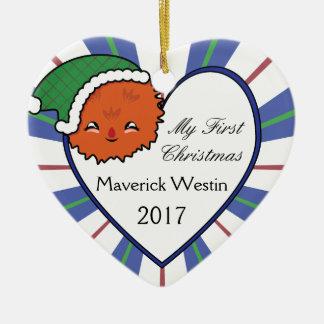 Kerstmis 2017 van het Monster van Kawaii Oranje Keramisch Hart Ornament