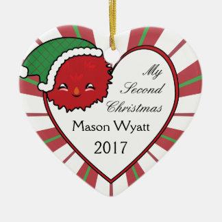 Kerstmis 2017 van het Monster van Kawaii Rode van Keramisch Hart Ornament