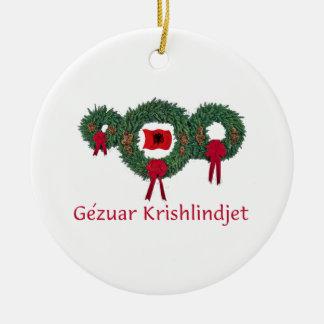 Kerstmis 2 van Albanië Rond Keramisch Ornament
