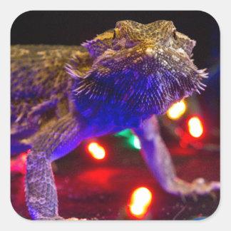 Kerstmis Beardie Vierkante Sticker