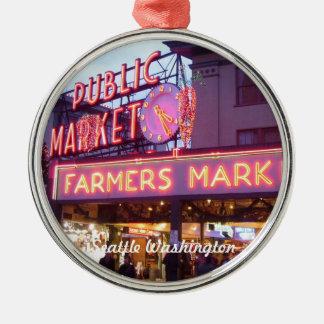 Kerstmis bij de Markt Seattle van de Plaats van Zilverkleurig Rond Ornament