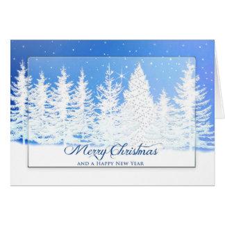 Kerstmis - Blauw Sprookjesland - de pijnboom-boom Kaart