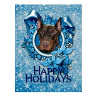 Kerstmis - Blauwe Sneeuwvlok - Rotsachtige Briefkaart