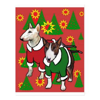 Kerstmis bull terrier briefkaart