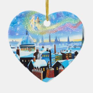 Kerstmis Carol Scrooge en spook van verleden Keramisch Hart Ornament
