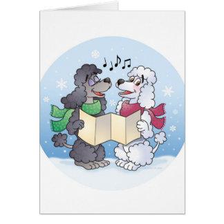 Kerstmis Caroling van poedels Briefkaarten 0