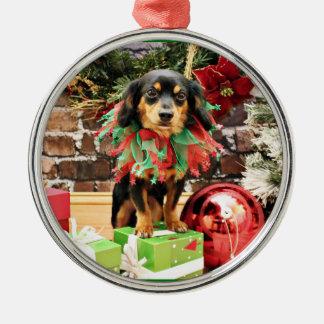 Kerstmis - Chiweenie - Titus Zilverkleurig Rond Ornament