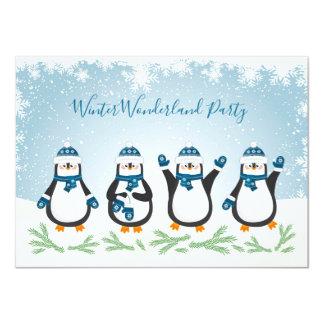 Kerstmis, de Partij van Penquins van de Winter van Kaart
