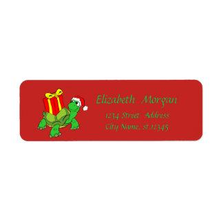Kerstmis, de Schildpad van de Cartoon, het Pet van Etiket