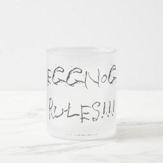 "Kerstmis ""eierpunchregels"" - berijpte glasmok matglas koffiemok"