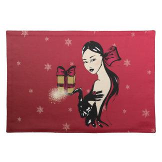 Kerstmis elegante fashionillustration placemat