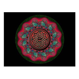Kerstmis Fractal Zwart Metaal Keltisch Knoop  Briefkaart