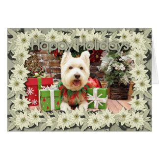 Kerstmis - Gelukkige Westie - Briefkaarten 0