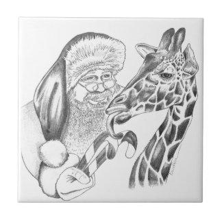 Kerstmis giraf en Kerstman Tegeltje