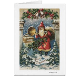 Kerstmis GreetingSanta en Platenspeler Wenskaart
