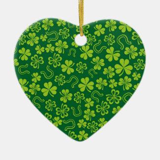 Kerstmis het Gelukkige Iers Keramisch Hart Ornament