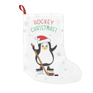Kerstmis hockey pinguïn kleine kerstsok
