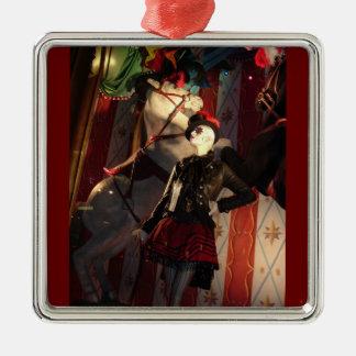 Kerstmis in New York Zilverkleurig Vierkant Ornament