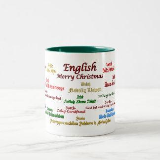 Kerstmis in Vele Talen Tweekleurige Koffiemok