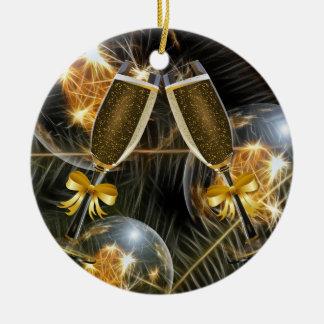 Kerstmis juicht toe rond keramisch ornament