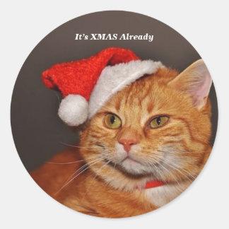 Kerstmis kat ronde sticker