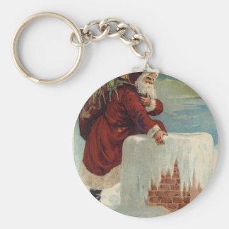 Kerstmis - Kerstman die onderaan de Schoorsteen Basic Ronde Button Sleutelhanger