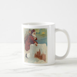 Kerstmis - Kerstman die onderaan de Schoorsteen Koffiemok