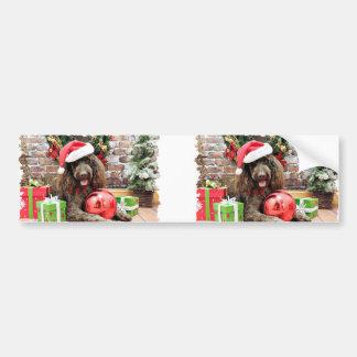 Kerstmis - LabraDoodle - Harley Bumpersticker